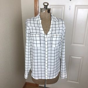 Express Portifino White & Black Check Top Blouse